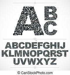 décoratif, lettres, alphabet, lettering., pattern., blanc, botanique, hand-drawn, vecteur, conception, vendange, floral, police, décoré, typescript, capital, noir