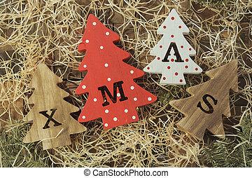 décoratif, lettres, noël, formulaire, sommet bois, délicatesse, arbres, noël, quatre, petit, découpé, os, vue., pets.