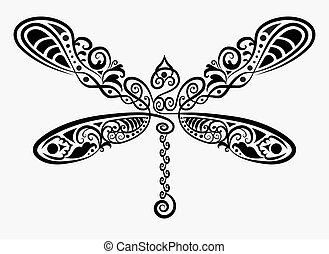 décoratif, libellule