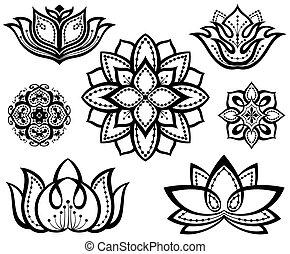 décoratif, lotuses, ensemble