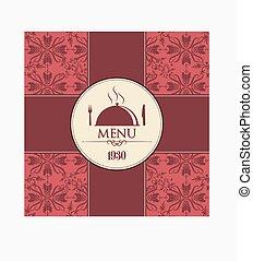 décoratif, menu, couverture, restaurant
