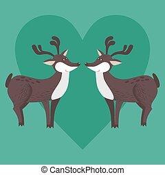 décoratif, mignon, cerf, amour, dessin animé