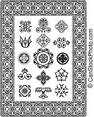 décoratif, monogrammes, vecteur, éléments conception