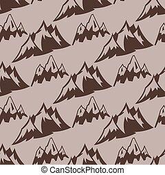 décoratif, montagne, extérieur, silhouette, rocheux, randonnée, nature, modèle, sommet, seamless, illustration, neige, vecteur, glace, fond, escalade, pic, voyage, paysage, colline