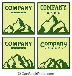 décoratif, montagne, extérieur, silhouette, rocheux, randonnée, nature, sommet, neige, illustration, vecteur, glace, cartes, escalade, pic, voyage, paysage, colline
