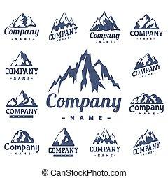 décoratif, montagne, extérieur, silhouette, rocheux, randonnée, nature, sommet, neige, illustration, vecteur, montée glace, pic, voyage, paysage, colline