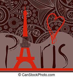 décoratif, mot, paris, eiffel, fond, amour, tour