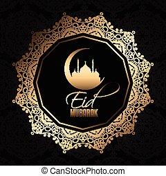 décoratif, mubarak, 0606, eid, fond