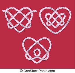 décoratif, nœuds, ensemble, corde, cœurs