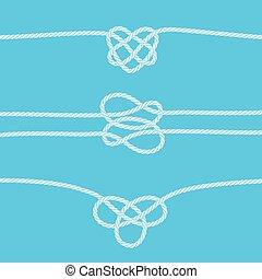 décoratif, nœuds, frontières, ensemble, corde