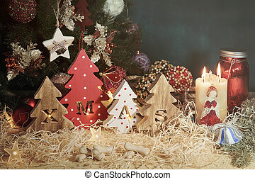 décoratif, noël, lettres, formulaire, bois, délicatesse, arbres, noël, quatre, petit, découpé, os, pets.