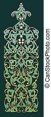 décoratif, or, arrière-plan vert, zentangle, oriental, element.