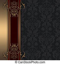 décoratif, or, border., vendange, démodé, fond