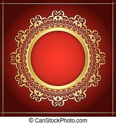 décoratif, or, cadre, clair, vecteur, fond, ombre, transparent, rouges