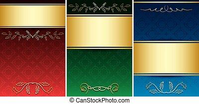 décoratif, or, vendange, -, ornement, vecteur, cartes