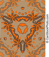 décoratif, orange, légume, ornement, fleurs