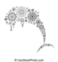 décoratif, ornament., flocons neige, résumé, dauphin, illustration, element.