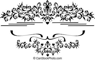 décoratif, ornement, frontière, frame.