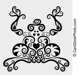 décoratif, ornement, grenouille