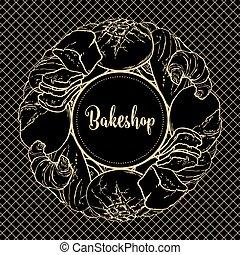 décoratif, pain, bakeshop, pain, cuit, long, élément,...