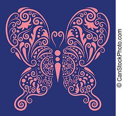 décoratif, papillon, 2