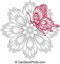 décoratif, papillon, fleur, rouges