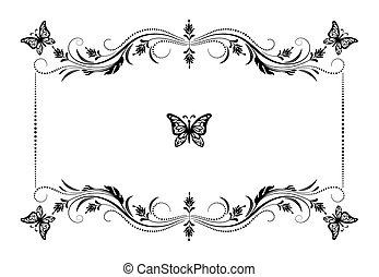 décoratif, papillon, style, vendange, cadre, ornement, retro, floral