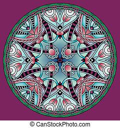 décoratif, patte, rond, conception, plat, géométrique,...