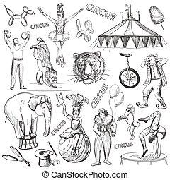 décoratif, performance, cirque, ensemble, icônes