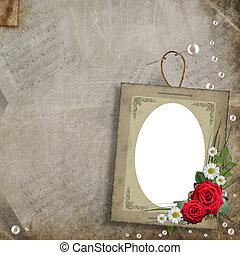 décoratif, perles, cadre, fleurs, vieux