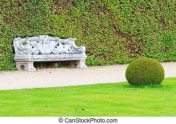 décoratif, pierre, jardin anglais, banc