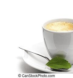 décoratif, plante, droit, tasse, stevia, café, fond, frontière, page