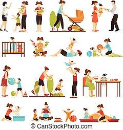 décoratif, plat, ensemble, coloré, icônes, baby-sitter