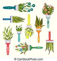 décoratif, plat, ensemble, formulaire, printemps, feuilles, peinture, beau, vecteur, bouquets, brush., fleurs, éléments