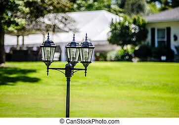 décoratif, poste, lampe, jardin, classique