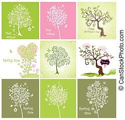décoratif, printemps, arbres