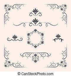 décoratif, règles, frontière, éléments, page