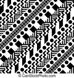 décoratif, répéter, moderne, pattern., seamless, zigzag, formes, ligne., noir, texture, ethnique, blanc, design., géométrique, raie