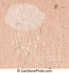 décoratif, rain., nuage