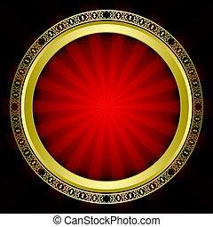 décoratif, rayons, or, vendange, cadre, -, clair, vecteur, fond, rouges