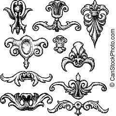 décoratif, renaissance, baroque, éléments, conception