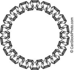 décoratif, ribbon., cadre, spirale, rond, vecteur, argent