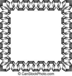 décoratif, ribbon., carrée, cadre, spirale, vecteur, argent