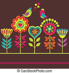 décoratif, rigolote, fleur, composition, coloré