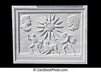 décoratif, roi, ancien, projection, fillipos, grec, copie exacte, soulagement