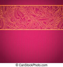 décoratif, rose, carte, dentelle