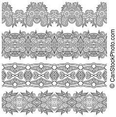 décoratif, seamless, collection, noir, floral, raies, blanc