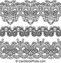 décoratif, seamless, collection, raies, noir, floral, blanc