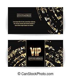 décoratif, sequins, arrière-plan., dots., vip, élégant, invitation., vecteur, luxe, vector., invitation, rond, carte, gabarit