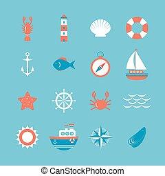 décoratif, set., thème, nautique, marin, icône